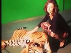 Isis Valverde posa ao lado de tigre para sessão de fotos