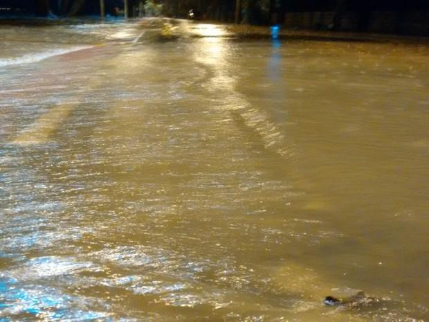 Chuva alaga Avenida Guaíba, na Zona Sul de Porto Alegre (Foto: Dayanne Rodrigues/RBS TV)