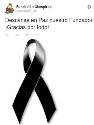Fundação Chesperito publica mensagem no Twitter (Foto: Reprodução/ Twitter)