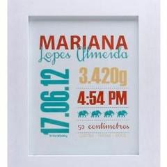 Quadro personalizado com informações do nascimento (Foto   Divulgação Macetes ... 59250d4ca8a