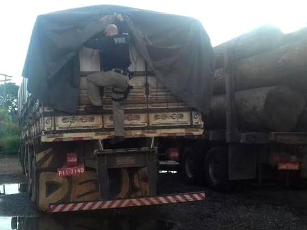 Carga de madeira ilegal está avaliada em R$ 9 mil. Dom Eliseu PRF (Foto: Divulgação/ PRF)
