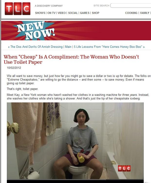 Americana 'ensina' como usar água e sabão ao invés de papel higiênico depois de ir ao banheiro. (Foto: Reprodução/TLC)