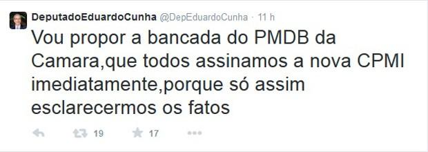 Eduardo Cunha defende no Twitter que a bancada do PMDB assine o pedido de criação da CPI da Petrobras (Foto: Reprodução)