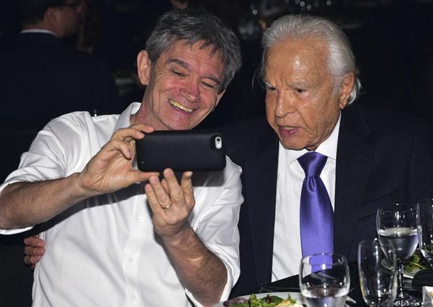 Serginho Groisman e Cid Moreira (Foto: Leo Franco/AgNews)