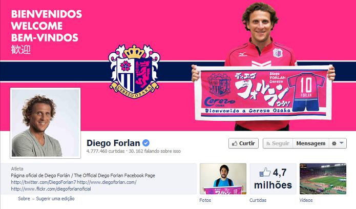 Diego Forlan do Cerezo Osaka tem 4,756,923 de fãs no Facebook (Foto: Reprodução/Facebook)