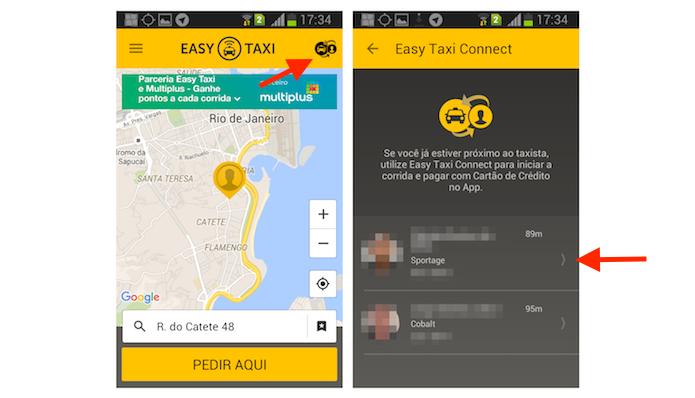 Pedindo uma corrida com a função Taxi Connect do Easy Taxi para Android (Foto: Reprodução/Marvin Costa)