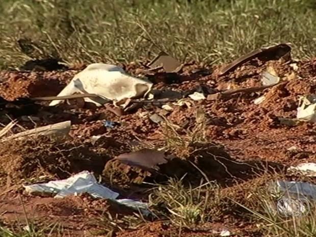 Destroços do avião do Bradesco que caiu são encontrados em fazenda Goiás (Foto: Reprodução/TV Anhanguera)