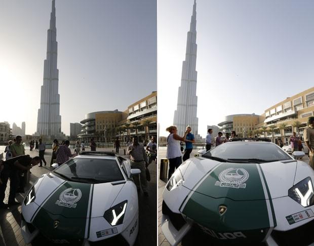 Curiosos tiraram fotos ao ver a Lamborghini Aventador patrulhando as ruas (Foto: Karim Sahib/AFP)