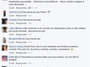 Fãs lamentam morte em rede social do cantor na internet. (Foto: Reprodução / Facebook )
