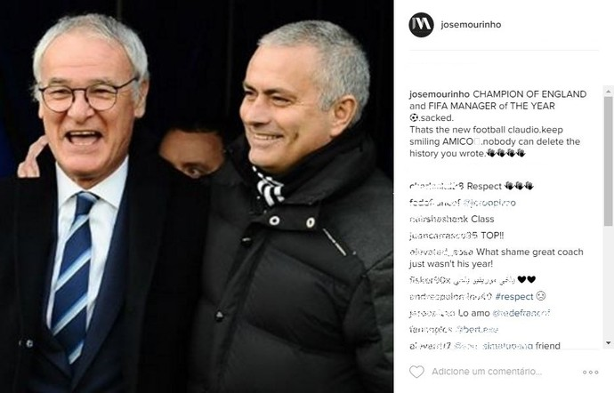 José Mourinho dá apoio a Claudio Ranieri (Foto: Instagram / @josemourinho)