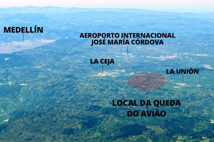 info Mapa Queda avião chapecoense Medellín colômbia (Foto: Editoria de Arte)