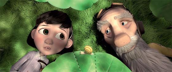 Cena da animação de O Pequeno Príncipe com a garotinha  e o Aviador  (Foto: Divulgação)