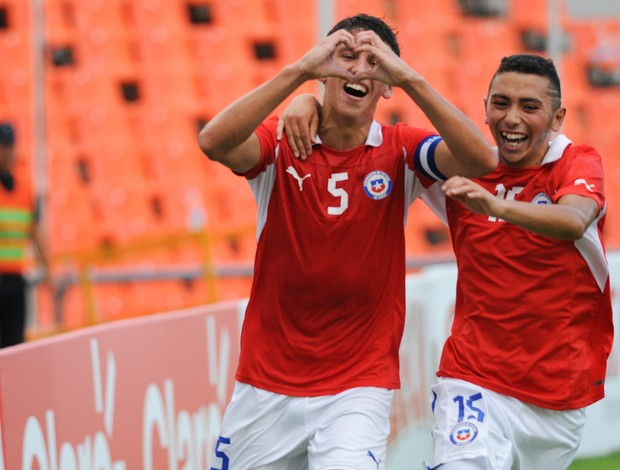 Igor Lichnovsky e Cristian Cuevas gol chile sub-20 (Foto: AP)