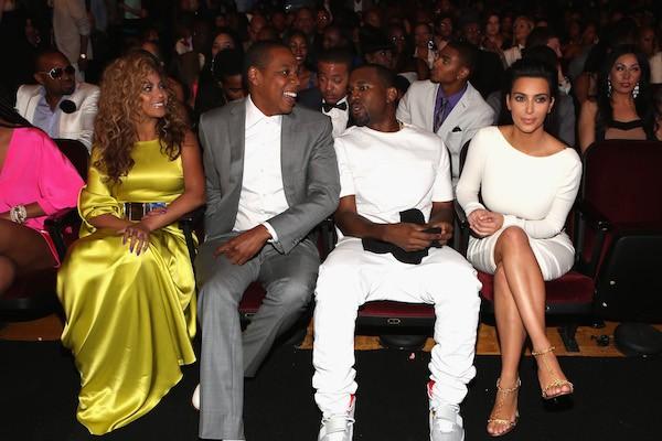 Beyoncé, Jay-Z, Kanye West e Kim Kardashian (Foto: Getty Images)