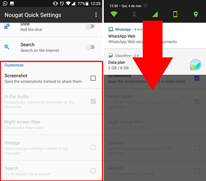 Nougat Quick Settings tem opções adicionais para algumas funções (Foto: Reprodução/Elson de Souza)