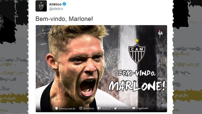 Atlético-MG anuncia Marlone (Foto: Repprodução / Twitter)