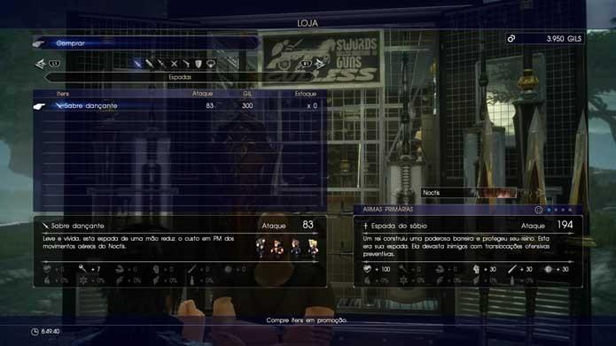 Veja as opções de armas de Final Fantasy XV (Foto: Reprodução/Murilo Molina)