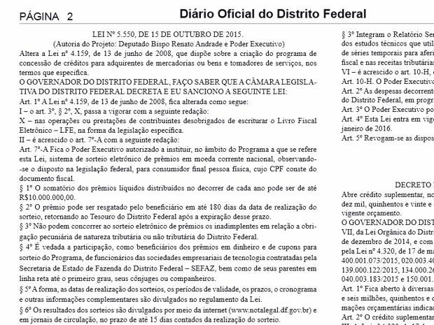 Publicação no Diário Oficial do DF sobre o sorteio eletrônico a beneficiários do programa Nota Legal  (Foto: Reprodução)