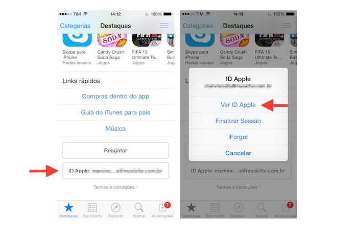 Acessando as configurações para ID da Apple na App Store do iOS (Foto: Reprodução/Marvin Costa)