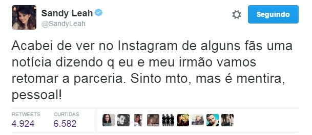 No Twitter, Sandy nega retorno de dupla com Junior (Foto: Reprodução/Twitter)
