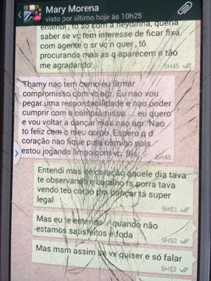 Mensagem trocada entre Thamy e Mary (Foto: Lívia Torres / G1)