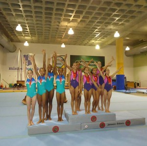 Equipe feminina de ginástica artística de Uberlândia no Campeonato Mineiro de 2014 (Foto: Érika Morais/Arquivo Pessoal)