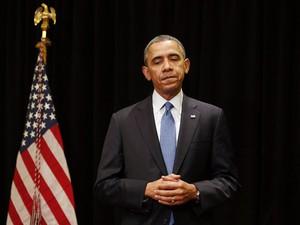 O presidente dos EUA, Barack Obama, durante evento em Chicago no qual falou sobre o tiroteio na base militar Fort Hood, no Texas, em 2 de abril (Foto: Reuters/Larry Downing)