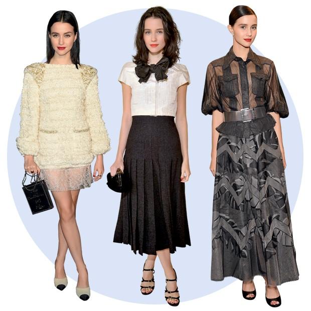 A partir da esquerda, a atriz veste Chanel no Tribeca Film Festival, em Nova York; no desfile de Métiers d'Art da grife, em Paris; e no jantar da Brazil Foundation, em São Paulo (Foto: Pedro Arieta)