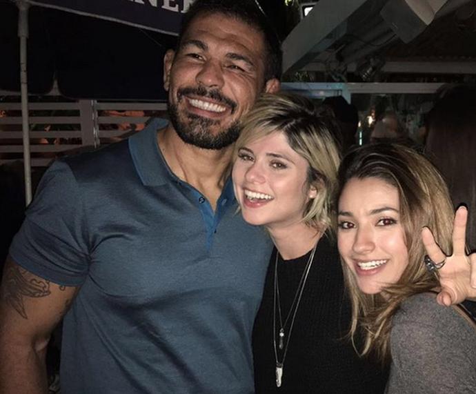 Minotauro, Julianne Trevisol e Caroline Oliveira juntos depois da gravação do 'Super Chef' (Foto: Arquivo pessoal)