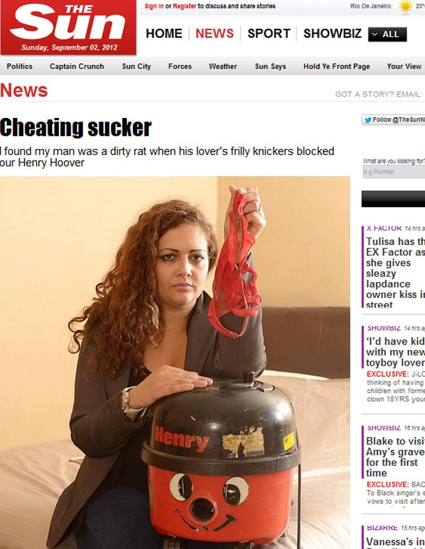 Milssa enconrou calcinha de amante do namorado dentro de aspirador de pó (Foto: Reprodução)