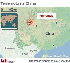 província de Sichuan (Foto: Arte/G1)