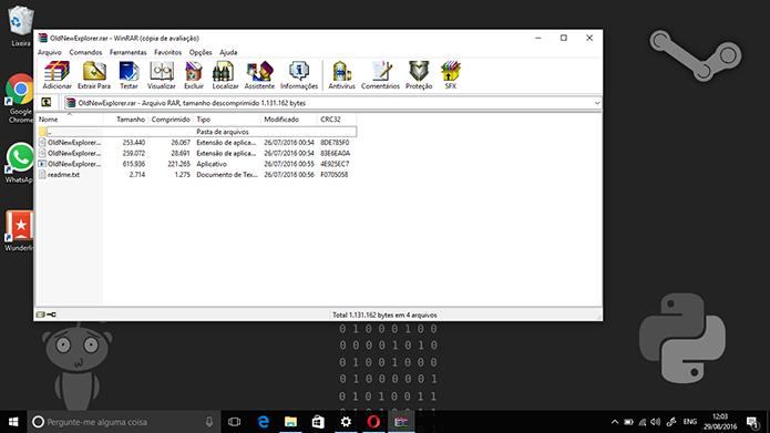 OldNewExplorer é composto de quatro arquivos compactados em formato .rar (Foto: Reprodução/Elson de Souza)