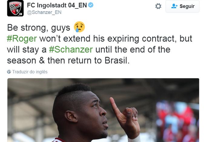 Twitter do Ingolstadt oficializa saída de Roger após término do vínculo com o clube alemão (Foto: Reprodução Internet)