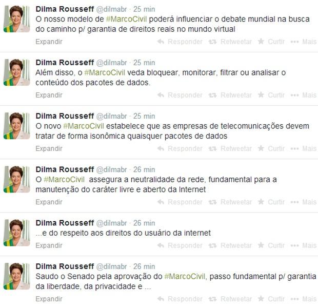 Dilma saúda Senado pela aprovação do Marco Civil da Internet (Foto: Reprodução/Twitter)