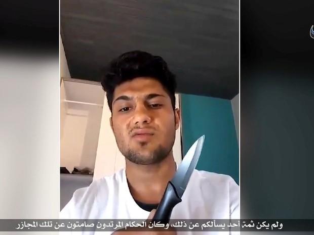 Agência de notícias do EI divulga vídeo com afegão autor do ataque em trem na Alemanha. (Foto: Social Media via REUTERS)