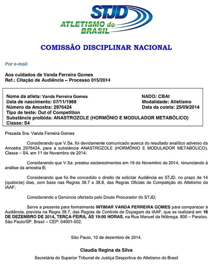 Intimação Vanda Gomes (Foto: Reprodução)