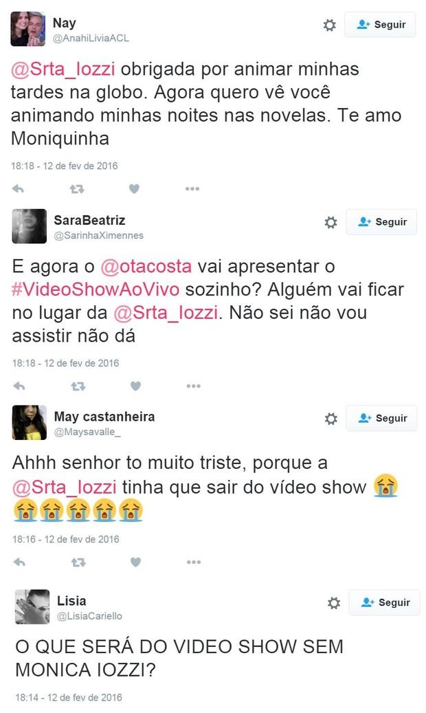 Internautas lamentam saída de Monica Iozzi do Vídeo Show (Foto: Reprodução/Twitter)