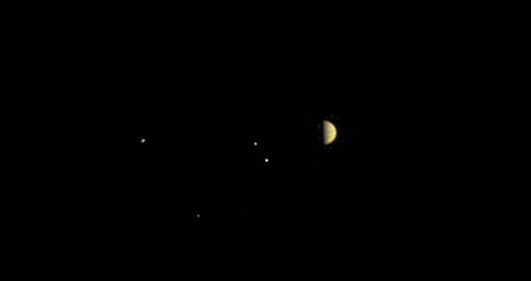 Perspectiva da sonda Juno em relação ao sistema de Júpiter (Foto: NASA/JPL-Caltech/SwRI/MSSS)
