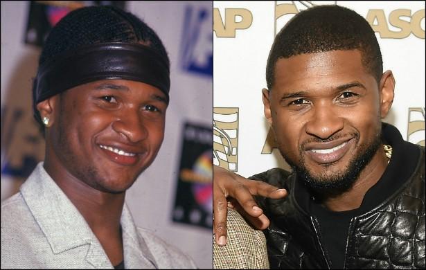 Usher continua com a mesma carinha de moleque travesso que ostentava aos 20 anos de idade, em maio de 1999. Porém atualmente exibe um estilo menos de dançarino de rua e mais de rapper mesmo — o que cai melhor num homem de 36 anos. Um pouco de barba também não lhe fez mal nenhum. (Foto: Getty Images)