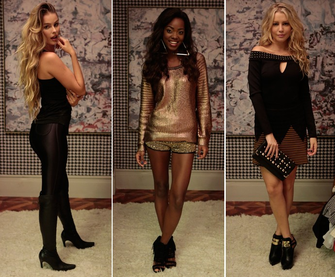 As gatas Stephanie, Lyris e Maya arrasaram na escolha do look (Foto: Gshow)