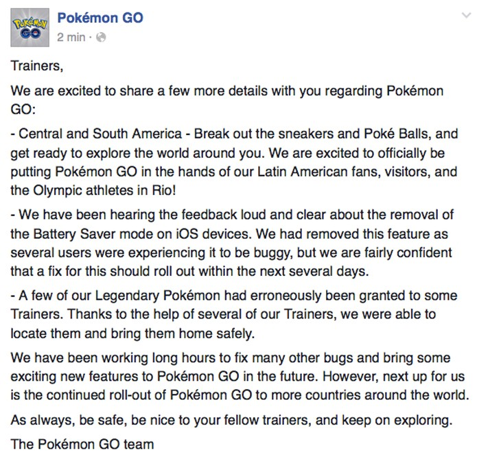 Página oficial de Pokémon Go anuncia chegada do game nas Américas do Sul e Central (Foto: Reprodução / TechTudo)
