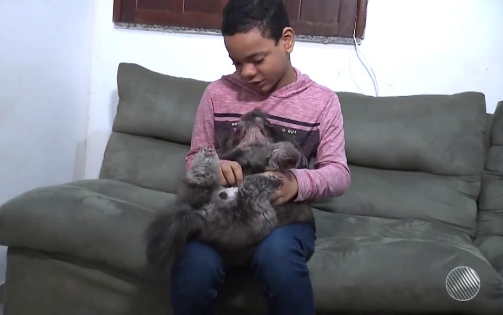 Segundo a mãe de Léo, os bichinhos de estimaçãoa judaram o menino a desenvolver as relações afetivas (Foto: Reprodução/TV Subaé)