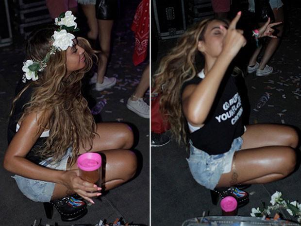 Beyoncé nos bastidores do clipe da música Feeling myself (Foto: Site Oficial/ Reprodução)