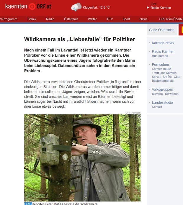 Político foi pego em ato sexual por câmera usada para monitorar a vida selvagem. (Foto: Reprodução)