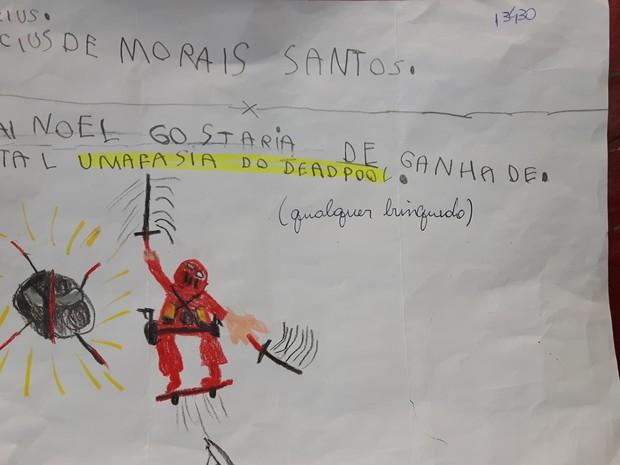 Cartinha do Vinicius de Morais Santos, na agência de Varginha (Foto: Samantha Silva/G1)