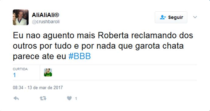Twitter Roberta (Foto: Gshow)
