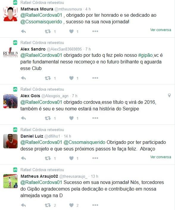Torcedores agradecem a Córdova (Foto: Reprodução/Twitter)