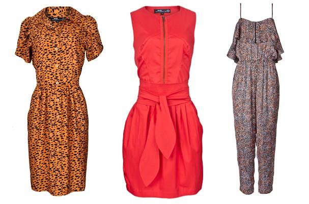 Da esquerda para direita: vestido estampado (R$ 79,90), macacão (R$ 89,90) e vestido liso (R$ 89,90) (Foto: Gabriel Cappelletti)
