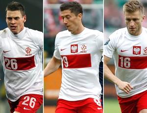 Lewandowski, Błaszczykowski e Piszczek, Polônia (Foto: Agência Getty Images e Reuters)