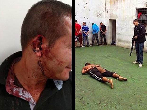Fotos que circularam na internet de orelha de carcereiro (à esquerda) arrancada por Verônica (à direita), que apareceu seminua nas fotografias que vazaram pelo Facebook (Foto: Reprodução / Facebook)